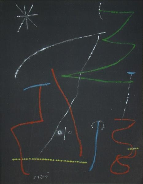 JOAN MIRO (after) Bird in the night, 1958  Lithograph with stencil colouring ( [...]