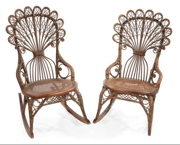 Pair of Antique Wicker Rocking Chairs , early 20th c., probably Heywood Wakefield, [...]
