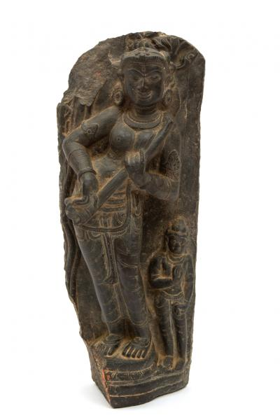A black stone fragment of Sarasvati, Northeast India, Pala period, 12th century, A [...]
