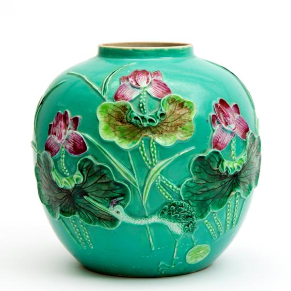 A famille rose vase, Ca. late 19th century, China, Featuring a relief in famille rose [...]