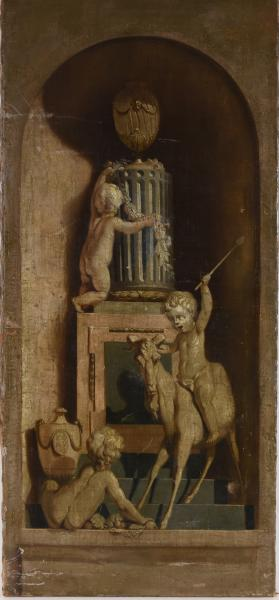 (French school) - Grisaille of a niche with playing putti. 18th c Oil on canvas, 109 [...]