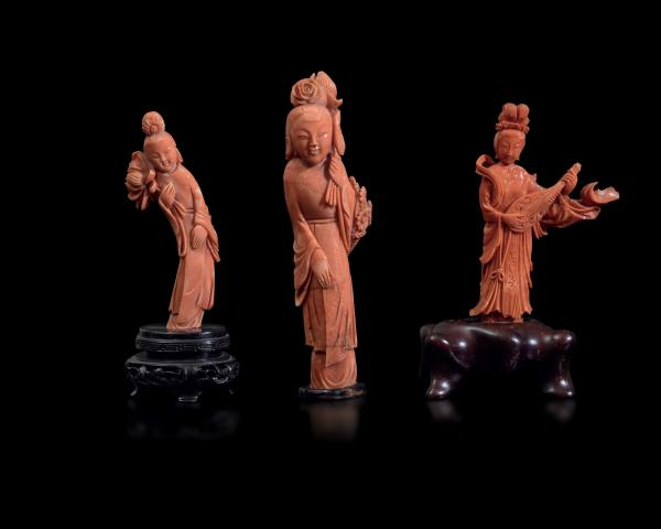 Three coral figures, China, early 1900s - Gross weight 465; H from 11cm to 16cm -