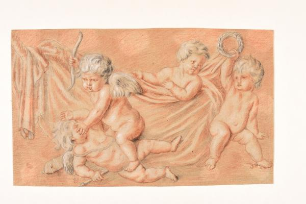 (French school) -  Fighting putti. 18th c Drawing, graphite pencil, red chalk, [...]