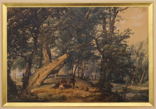 - FOURMOIS, Théodore Landscape with resting family. 1837 Oil on paper, 19 x 27,5 cm, [...]