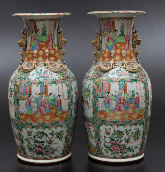 Two Pink Family vases, China, Qing Dynasty - 19th century. H 44.5cm -