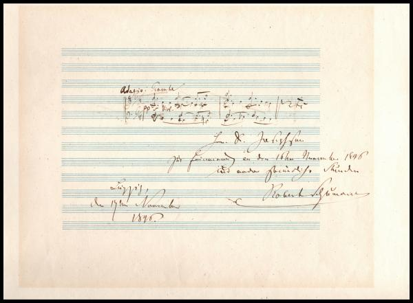 Clara et Robert SCHUMANN (1810-1856) - Double citation musicale autographe signée. [...]