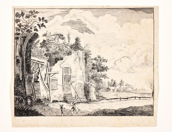 (Dutch) - Attributed to de HOOCH, Charles Cornelisz. Landscape with ruin. Engraving, [...]