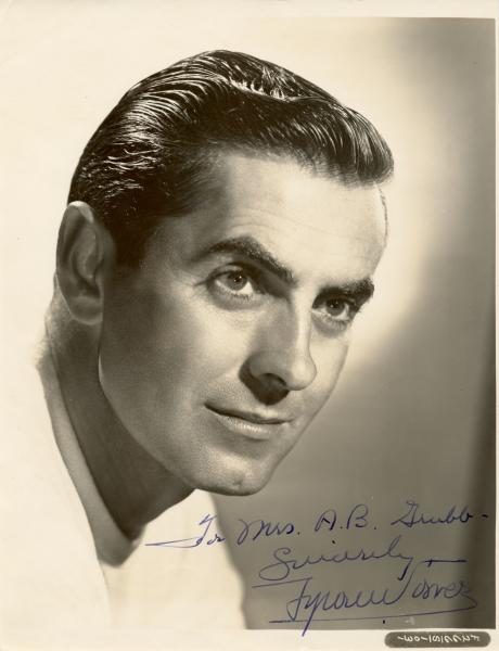 POWER TYRONE: (1914-1958) American Actor. Vintage signed and inscribed 7.5 x 10 [...]