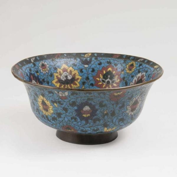 A Large Cloisonné Bowl with Mums