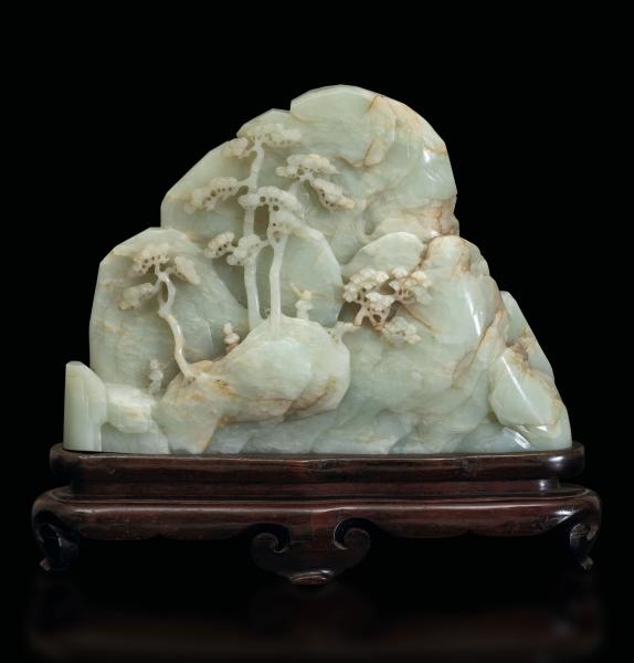 A white jade sculpture, China, Qing Dynasty - Qianlong period (1736-1796). 21x28cm. [...]