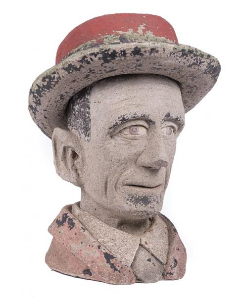 Polychrome Concrete Bust of Abraham Lincoln (1809-1865) , h. 21 1/2 in., w. 14 1/2 [...]